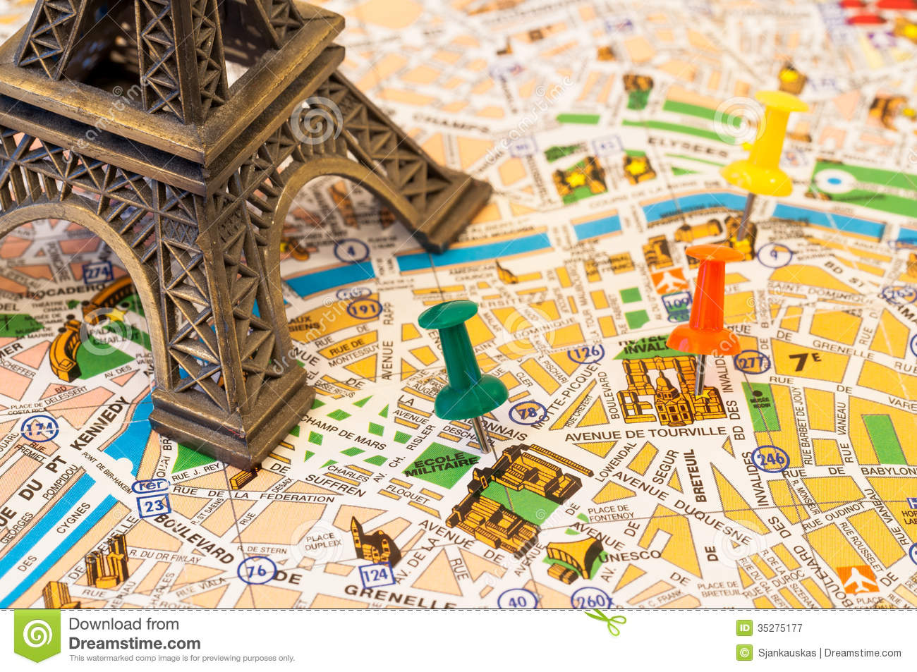 Paris map visiting places stock image Image of marking 35275177