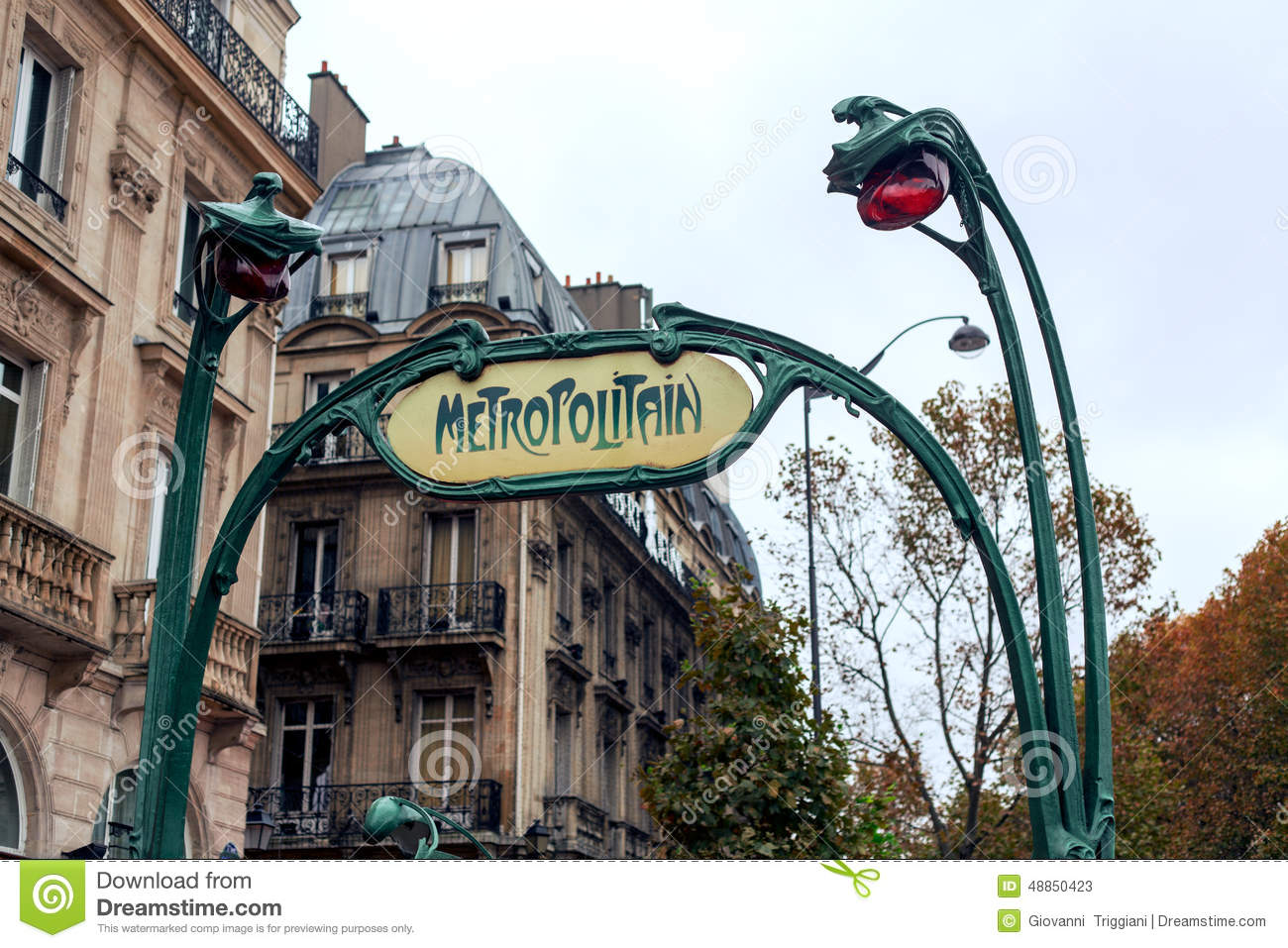 Paris Metro Subway. Art Nouveau Stock Image - Image of architecture ...