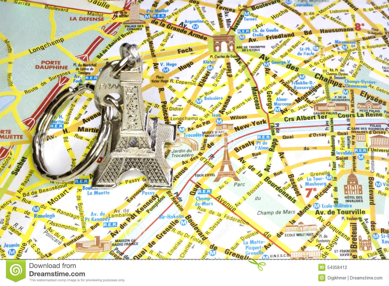 Paris Monuments Map Photo Image 54358412 – Map of Paris with Monuments