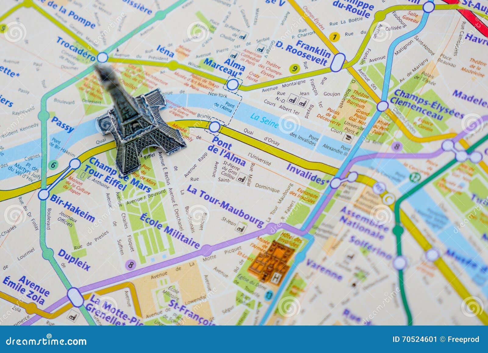 mapa paris torre eiffel Paris Name At A Map With Red Eiffel Tower Miniature Stock Image  mapa paris torre eiffel