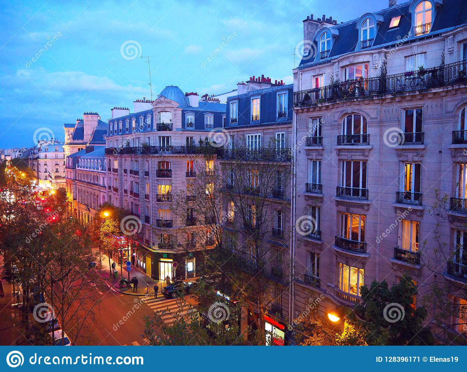 Paris Night City Landscape Stylish Beautiful Houses Make An Architectural Complex Of City Street Montmartre District Paris France Stock Image Image Of Aerial Architectural 128396171
