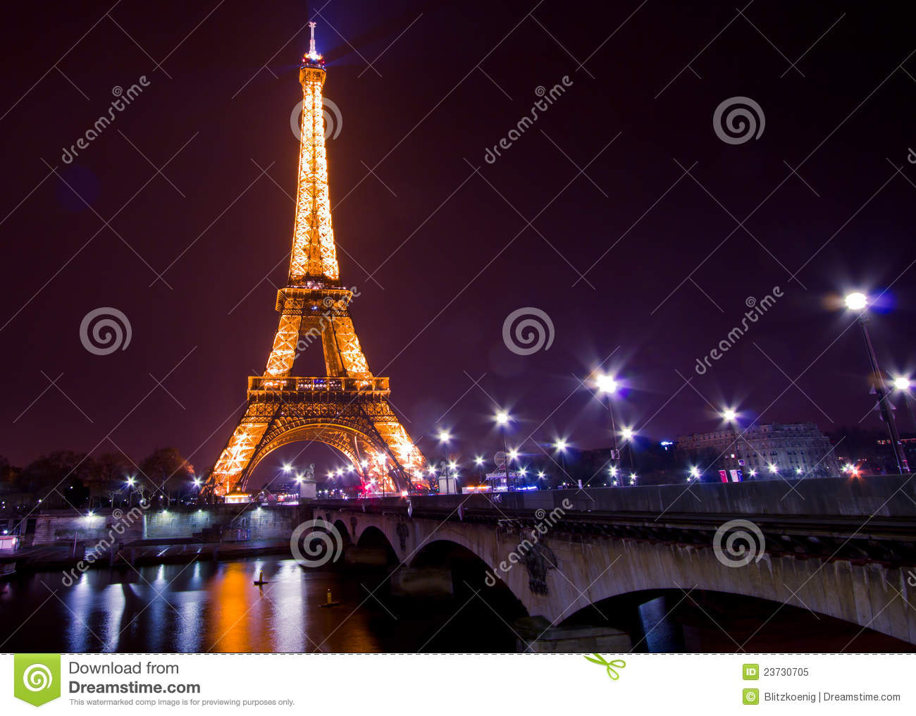 Paris by night eiffel tower editorial image image 23730705 for Paris night time