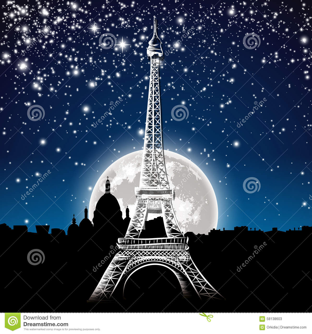 Paris by night stock vector illustration of vector decor for Paris night time