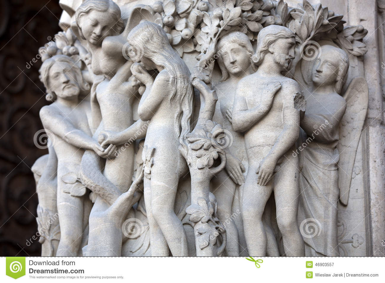modern sculpture of adam and eve ljubljana editorial photo