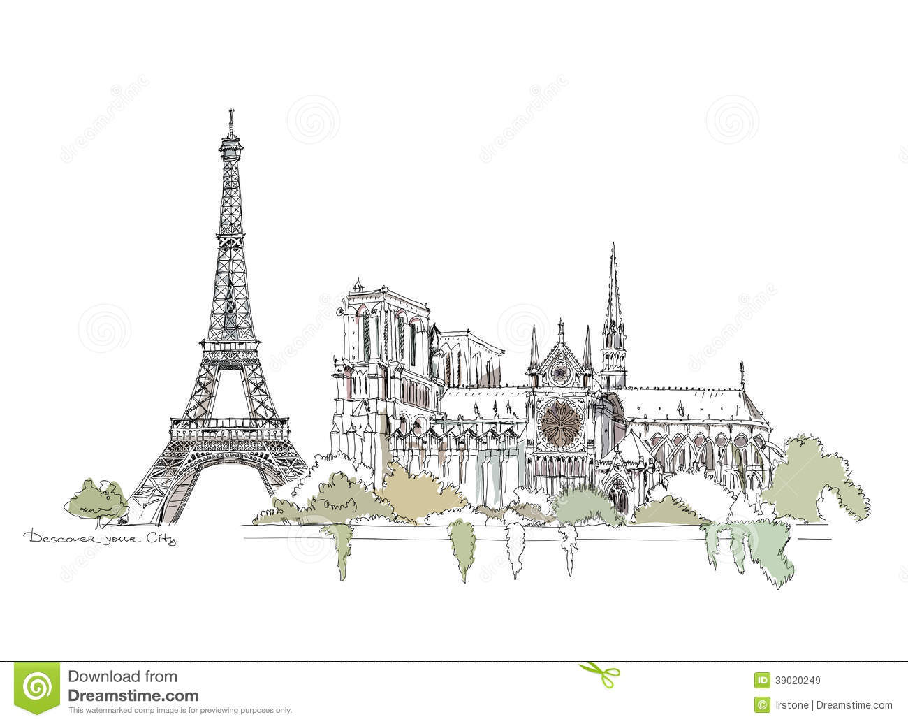 Paris notre dame thriumph arch and eiffel tower sketch for Sketch online free