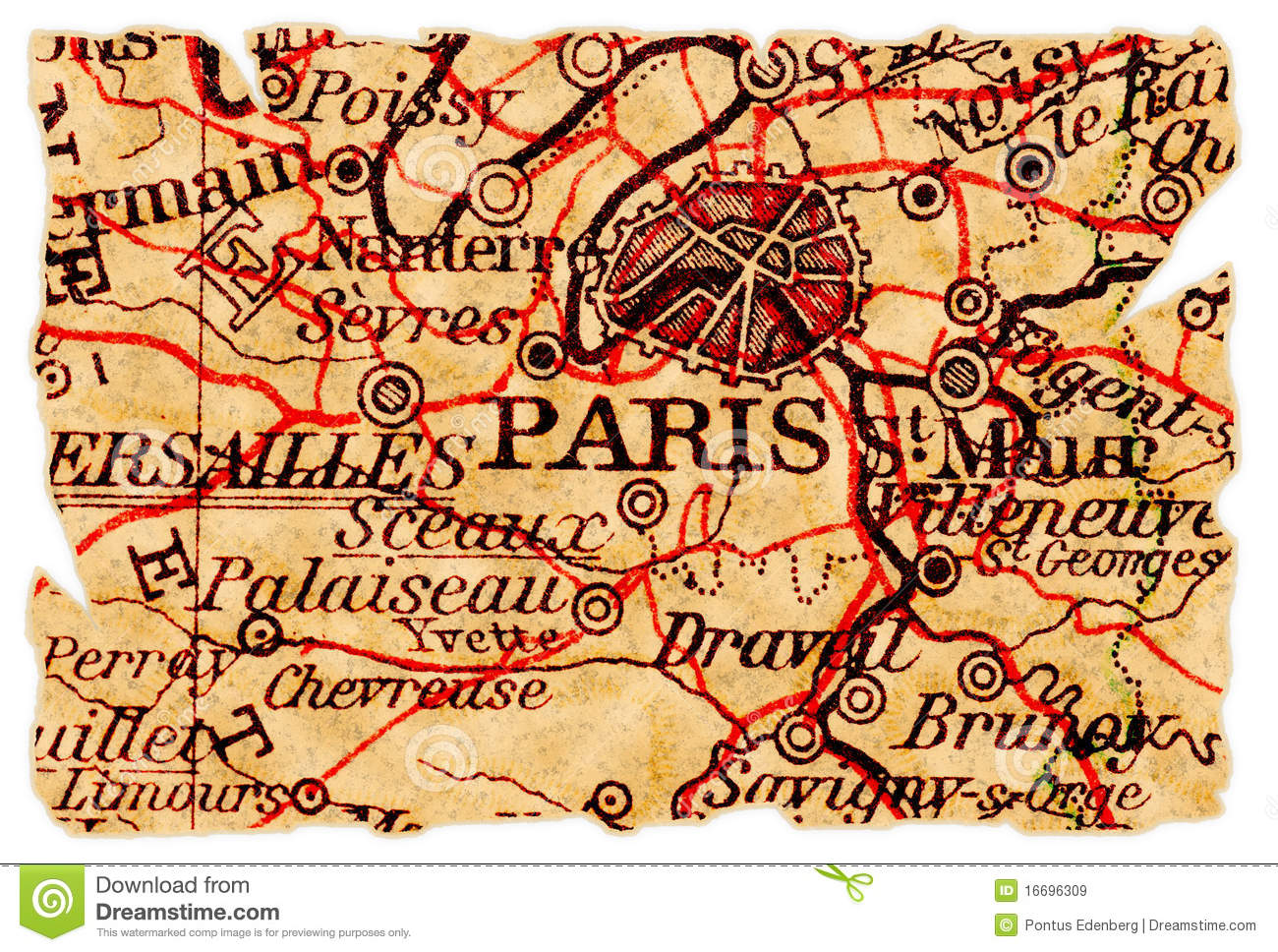paris old map royalty free stock photo