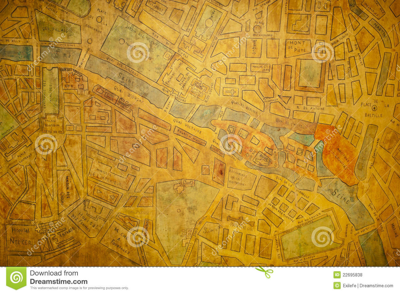 Paris Old Map Stock Photo Image Of Historic River History 22695838