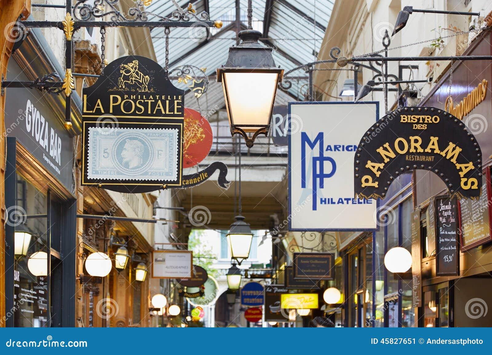 Paris, Passage des Panoramas signs, France