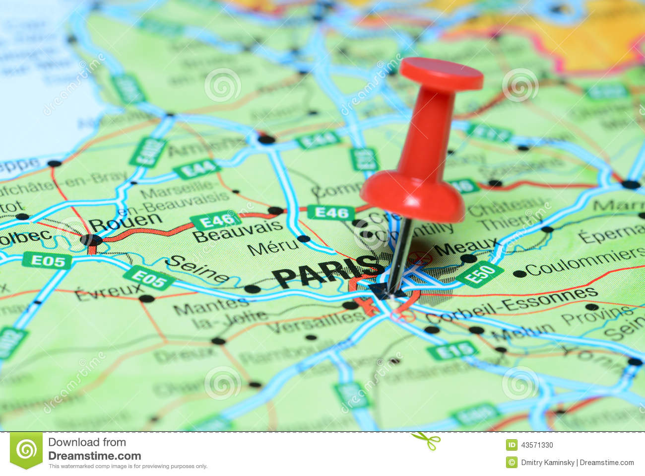 Paris Pinned On A Map Of Europe Stock Photo   Image of push
