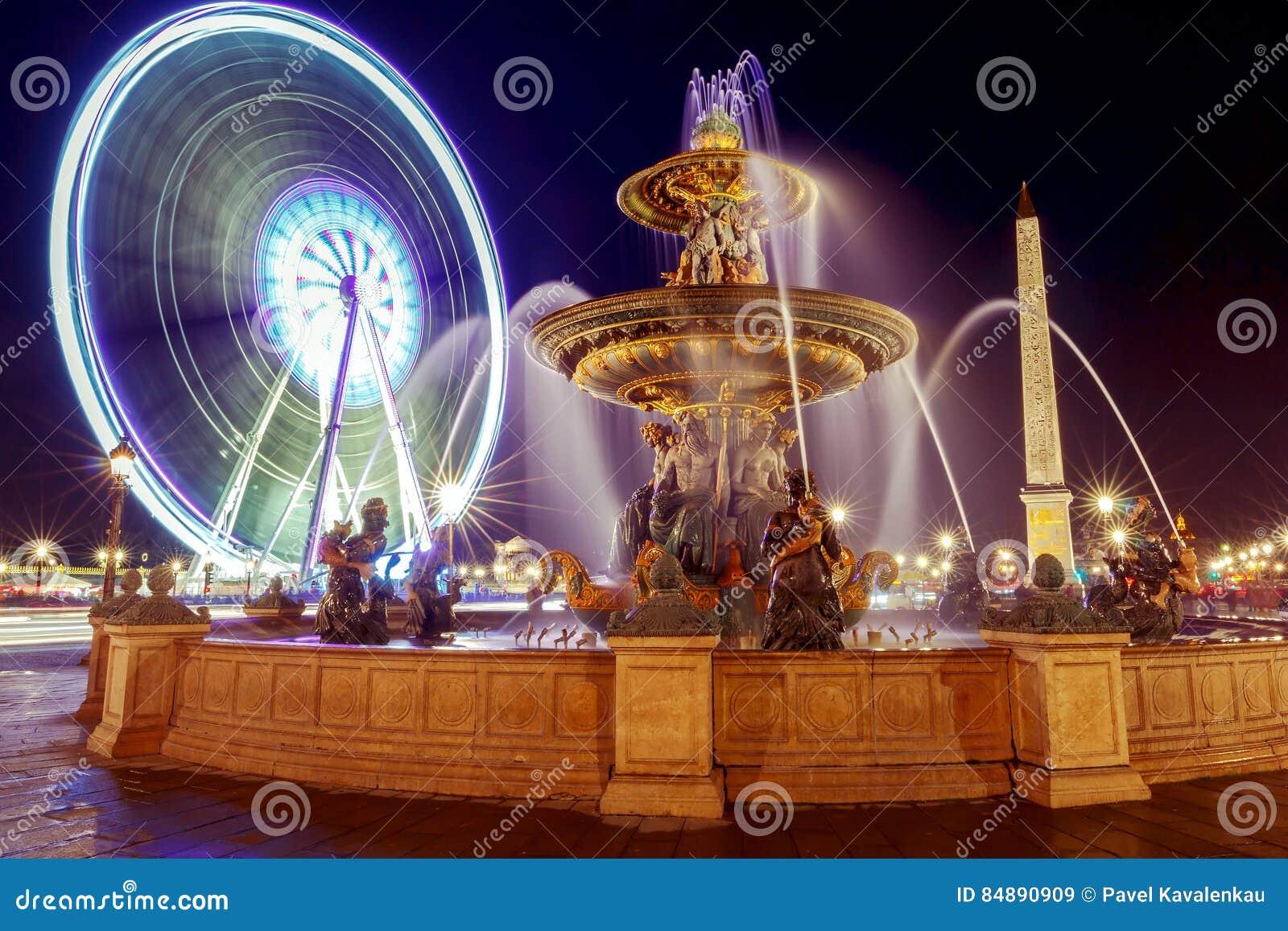 Plaza De La Concordia paris. place de la concorde at night. stock image - image of