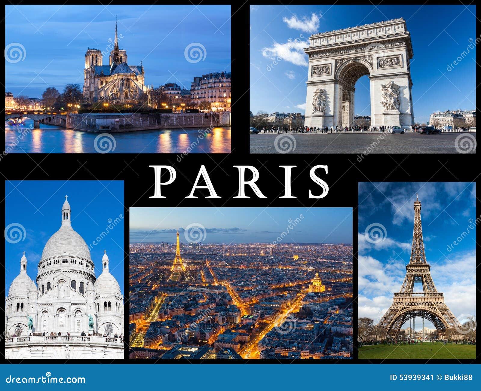 Paris Postcard: Notre Dame, Eiffel Tower, Basilica Of Sacred Heart, Arc Of Triumph And A Skyline ...