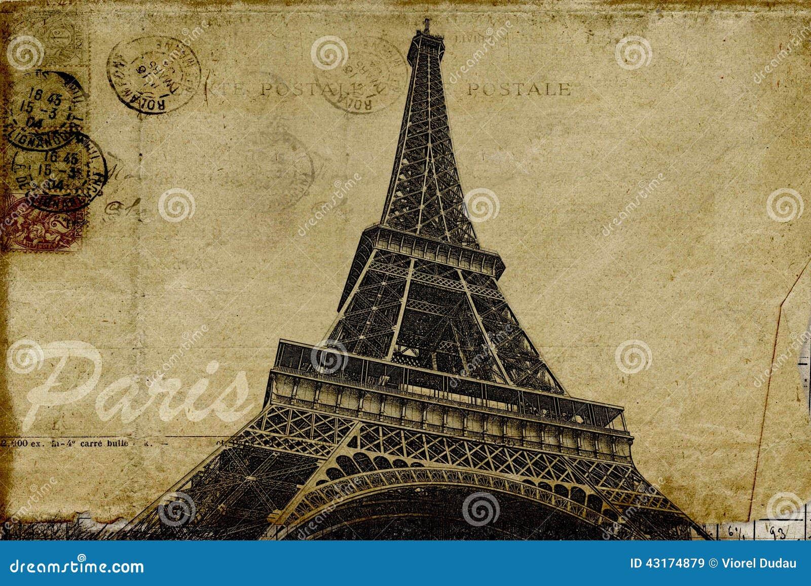 Paris Postcard Stock Illustration Image Of Eiffel Card