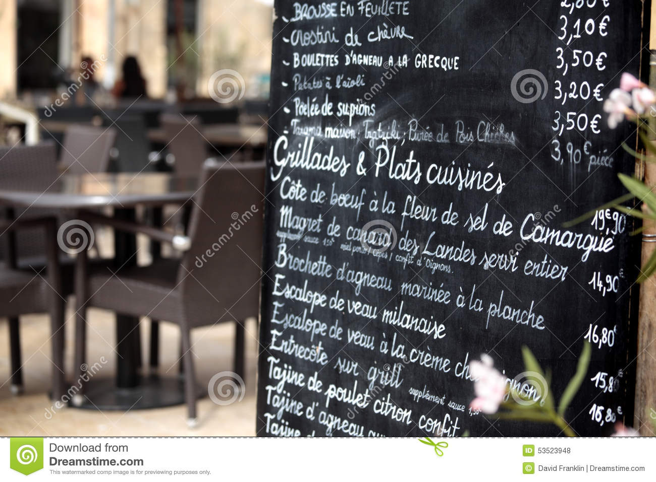 Paris France French Restaurant Menu Board People Eating In