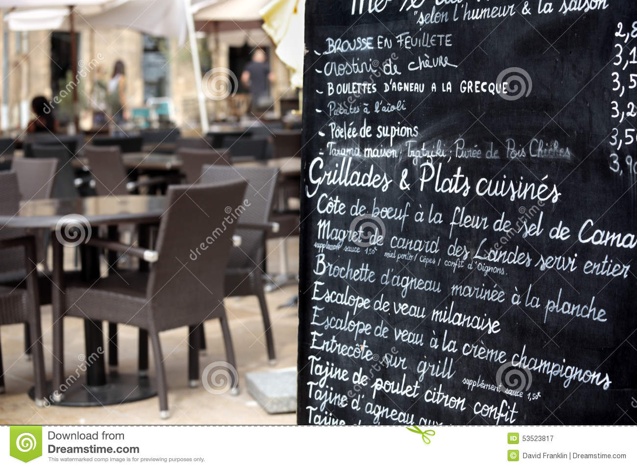 Paris France French Restaurant Street Cafe Menu Board Stock Photo