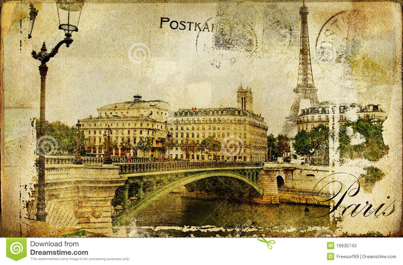 Paris retro card stock photos image 16635743 - Retro vintage ...