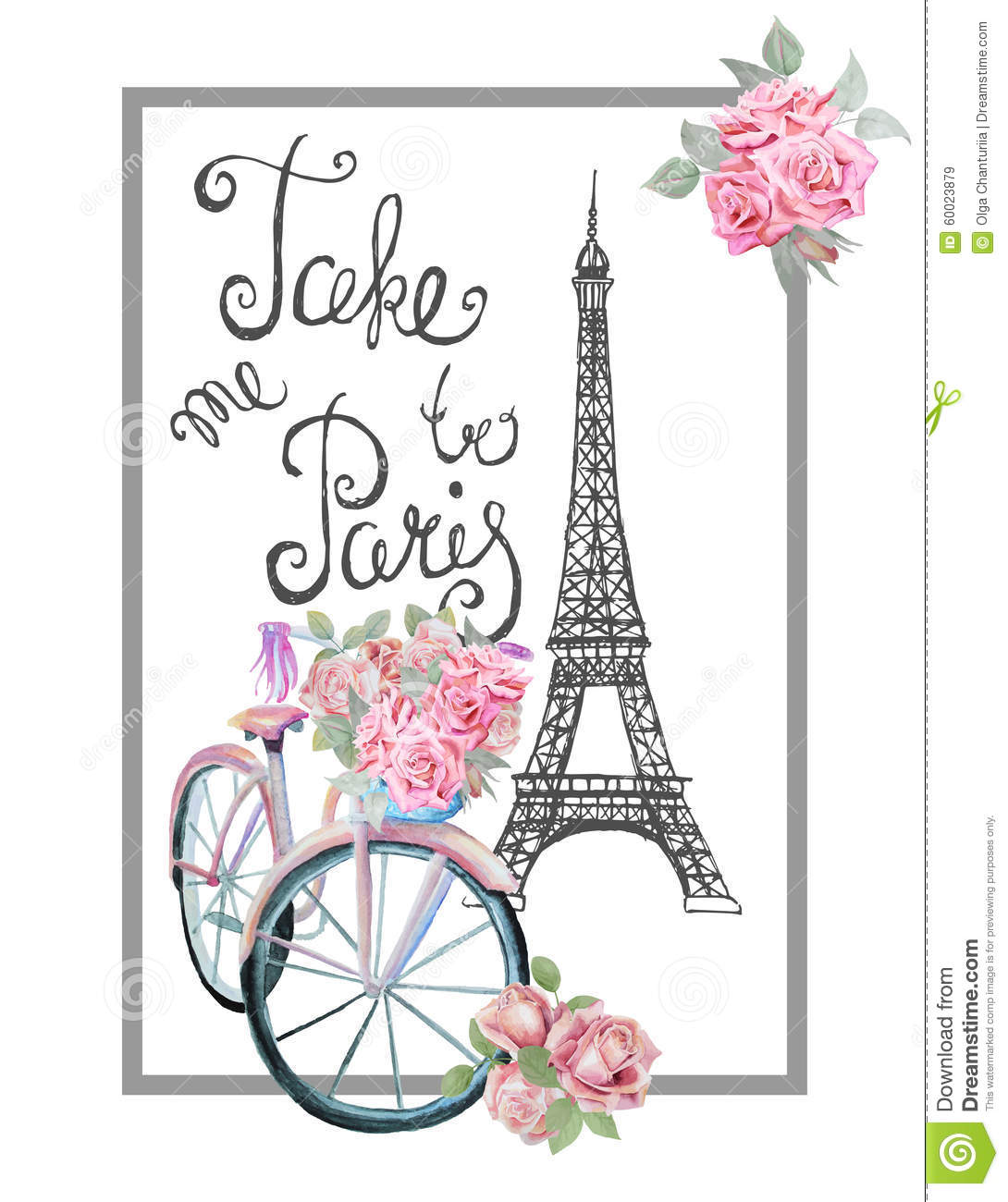 Paris Romantic T shirt Print With Bicycle Eiffel Tower