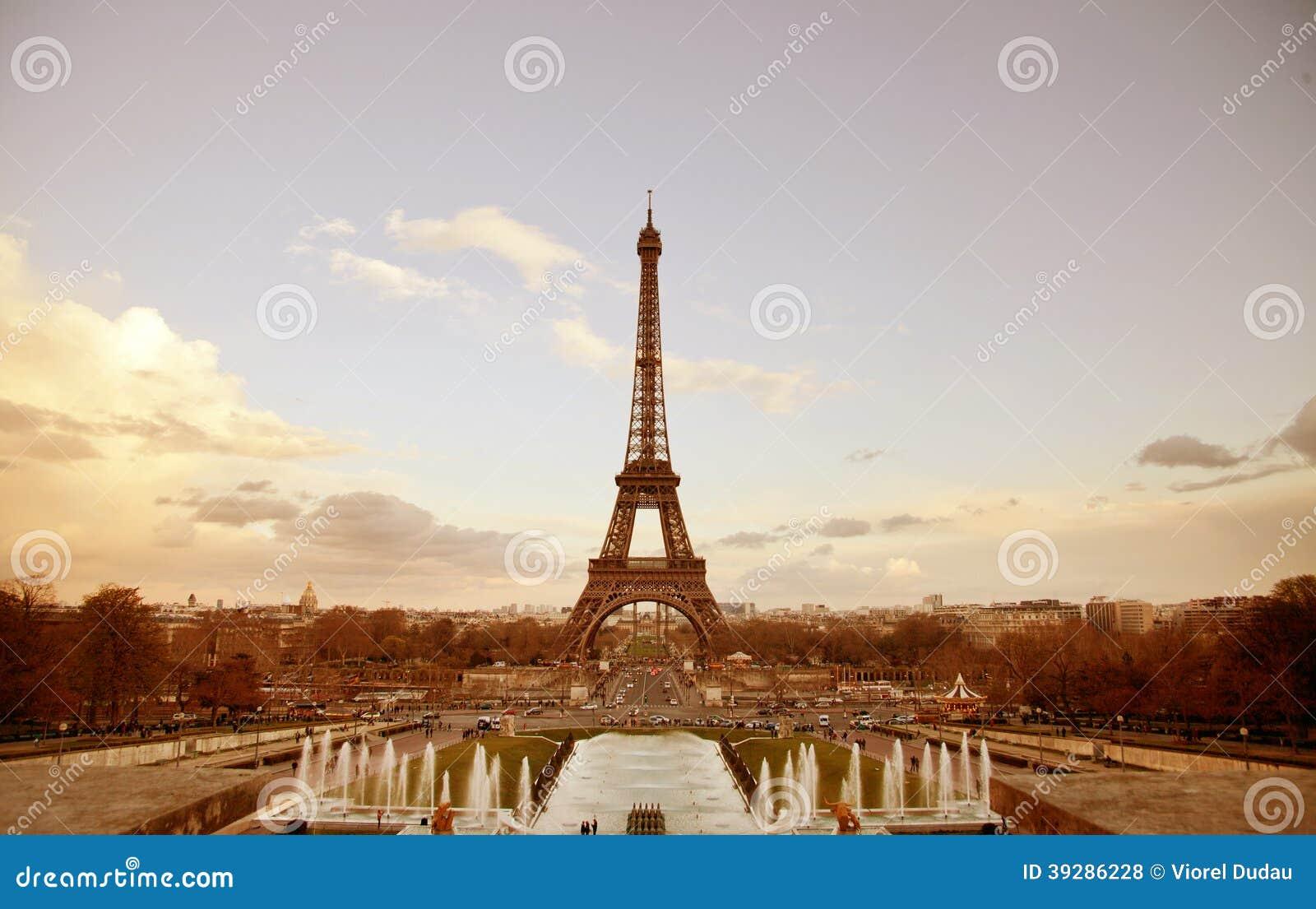 Paris sepia cityscape with Eiffel tower