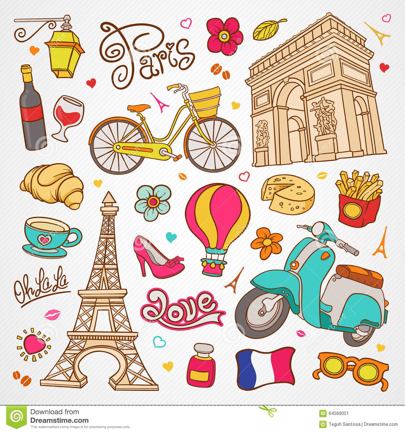 Paris Sketch Illustration Set Of Hand Drawn Vector Doodle