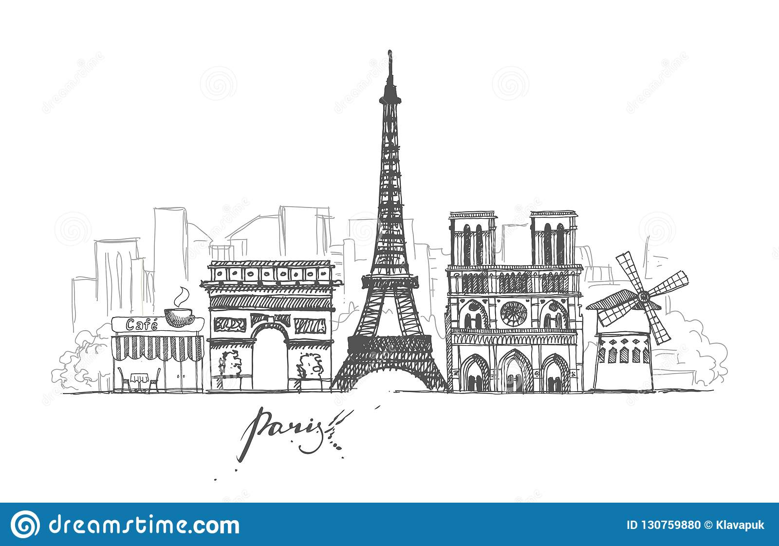 A set of sketches on the theme of paris in retro style abstract cityscape with landmarks