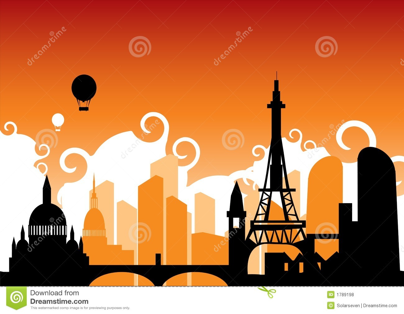 Paris Skyline Royalty Free Stock Photos - Image: 1789198