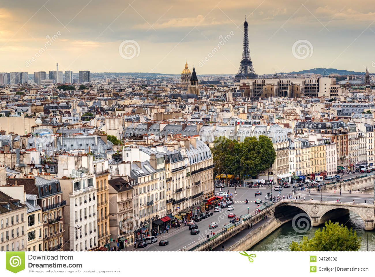 Paris Skyline With Eiffel Tower At Sunset Editorial Photography Image 34728382