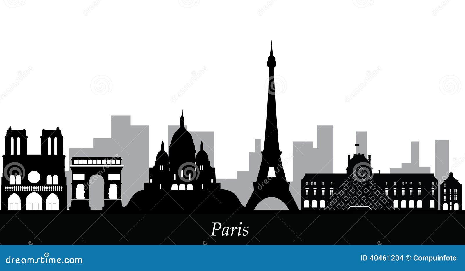 Paris skyline stock vector. Illustration of construction ...