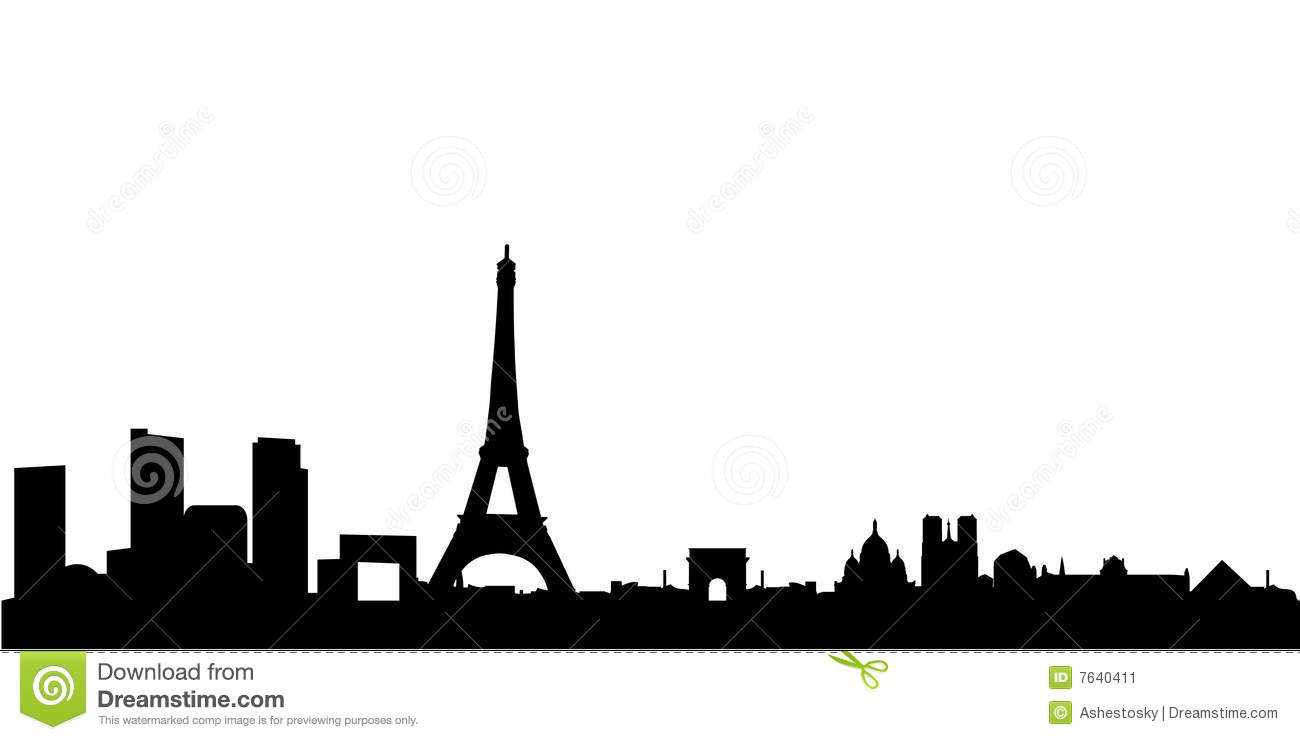 Vector illustration of the city of paris panorama with all the most ...