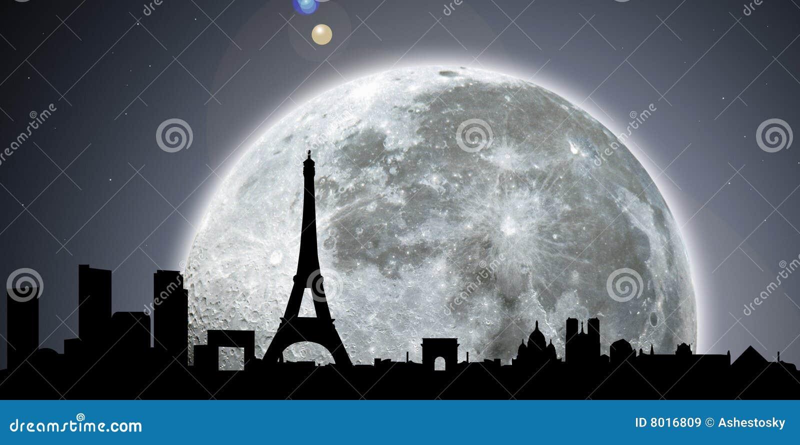 Paris-Skylinenacht mit Mond