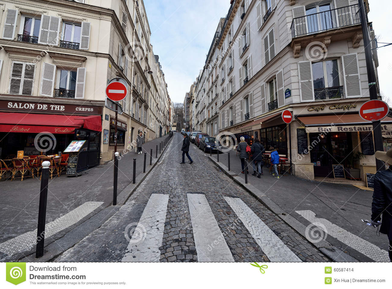 people walk on the montmartre district in paris france editorial photo. Black Bedroom Furniture Sets. Home Design Ideas
