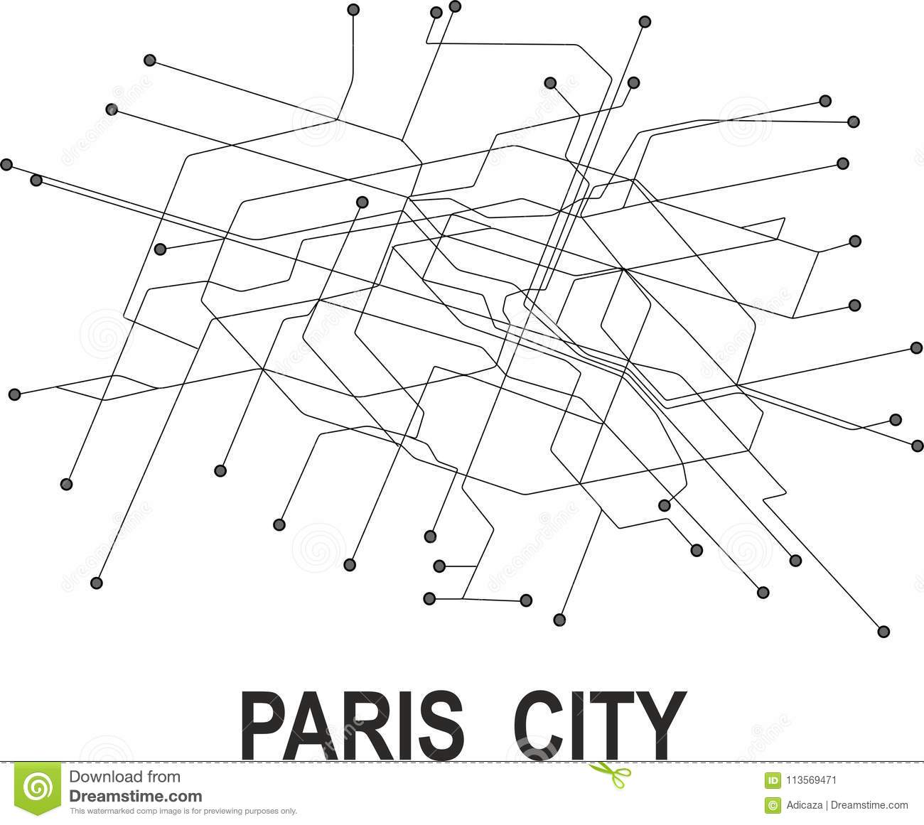 Black And White Subway Map.Paris City Map Stock Vector Illustration Of Metro Station 113569471