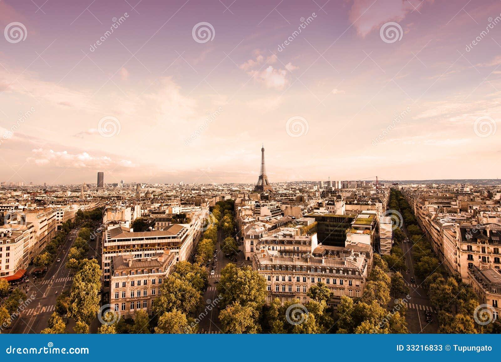 Paris sunset stock photos image 33216833 for Site francais