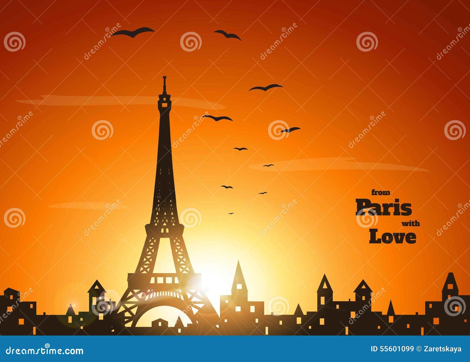 Paris on sunset stock vector image 55601099 for Paris orange card