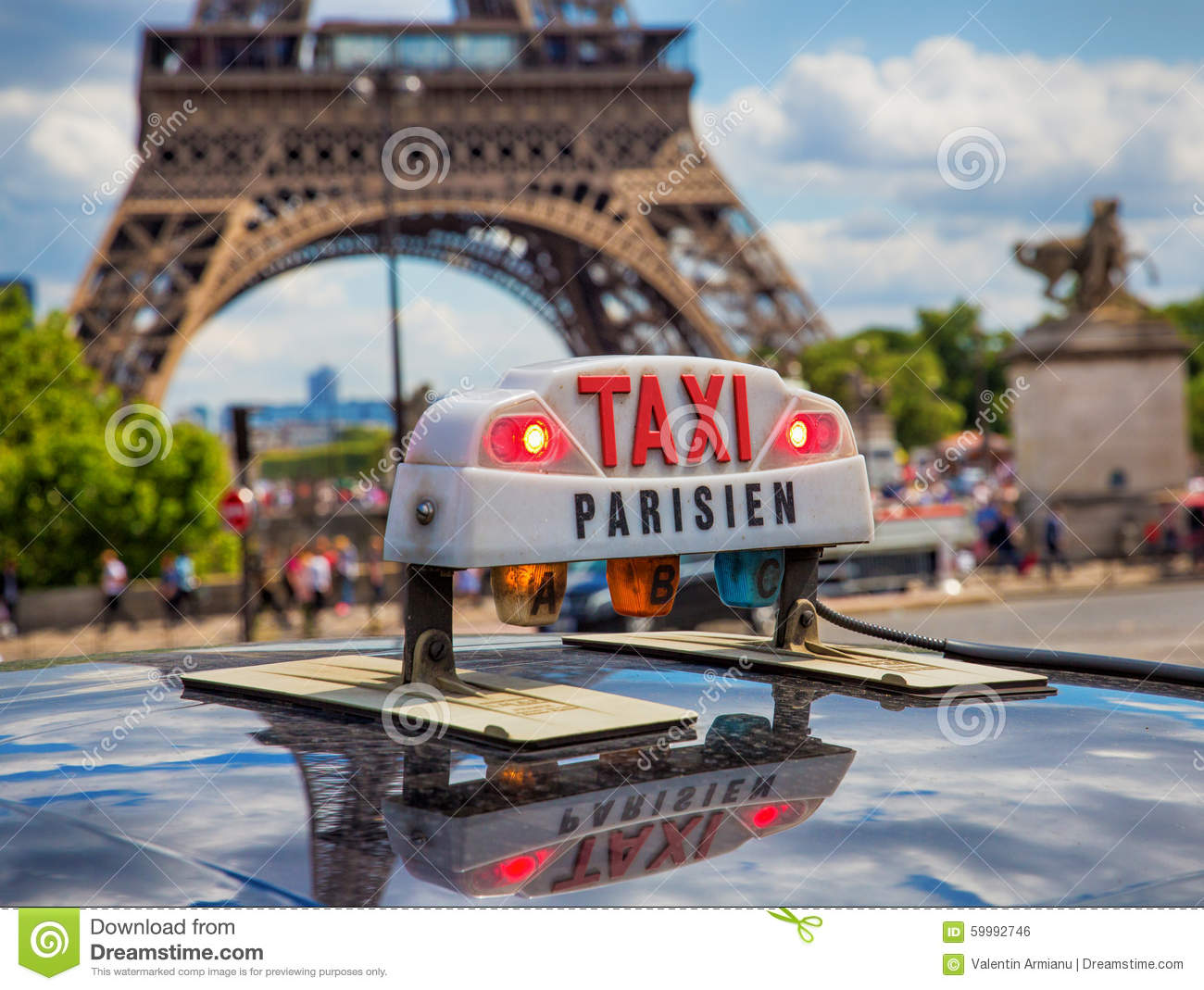 paris taxi near eiffel tower stock photo image 59992746. Black Bedroom Furniture Sets. Home Design Ideas
