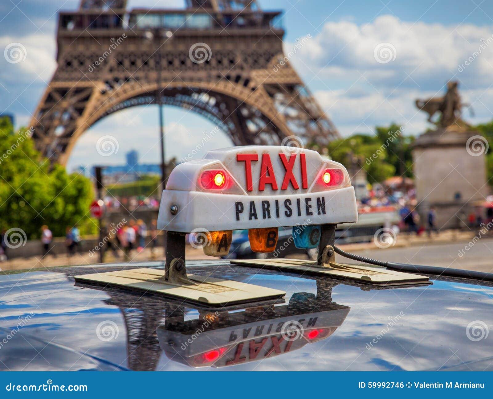 paris taxi near eiffel tower stock photo image 59992746. Black Bedroom Furniture Sets. Home Design Ideas