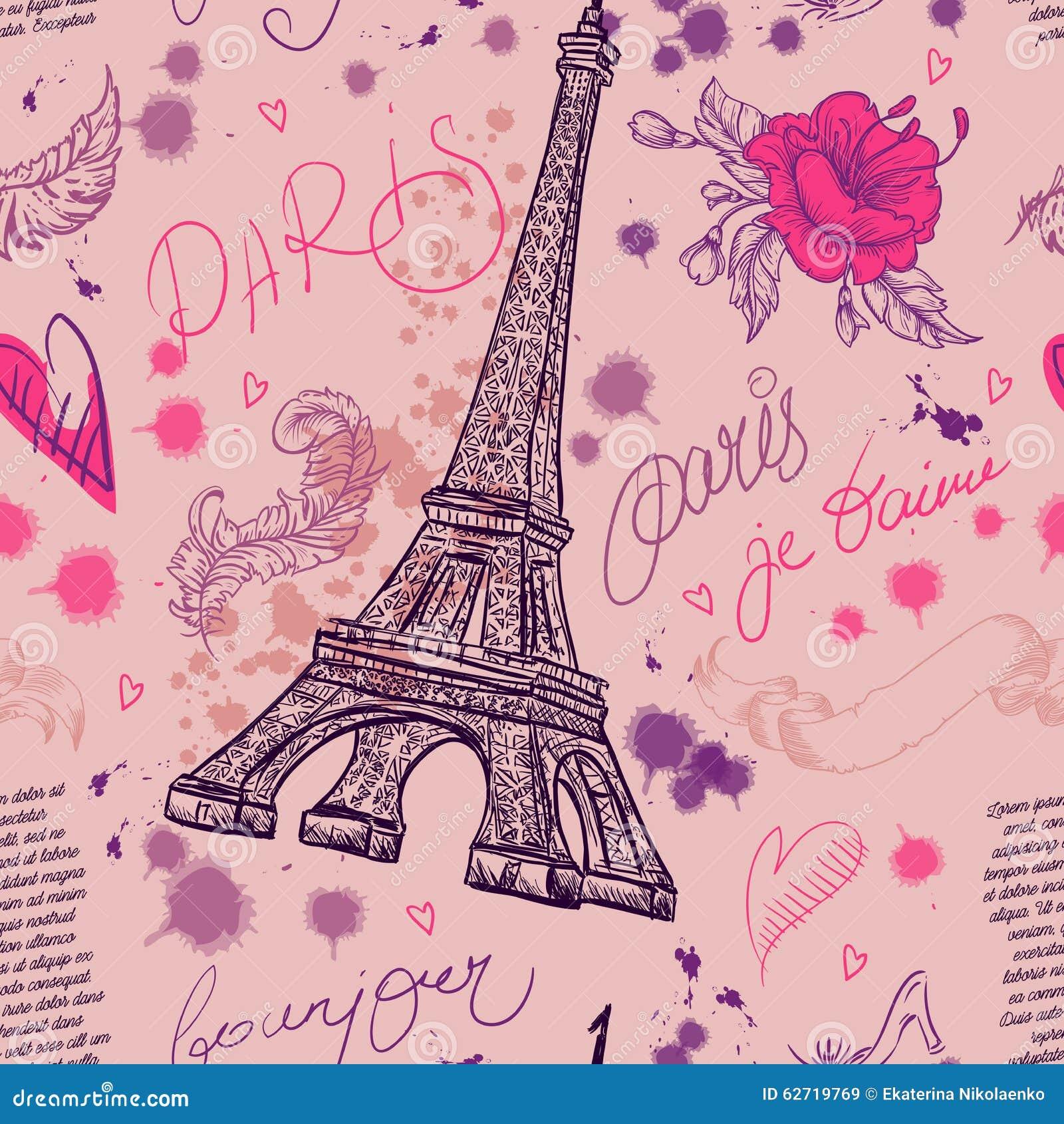Paris Teste padrão sem emenda do vintage com torre Eiffel, flores, penas e texto