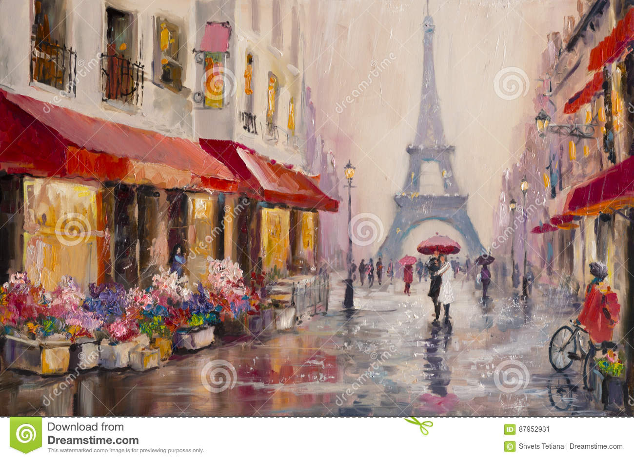 paris tour eiffel peinture l 39 huile originale sur la toile une paire d 39 amants sous un. Black Bedroom Furniture Sets. Home Design Ideas