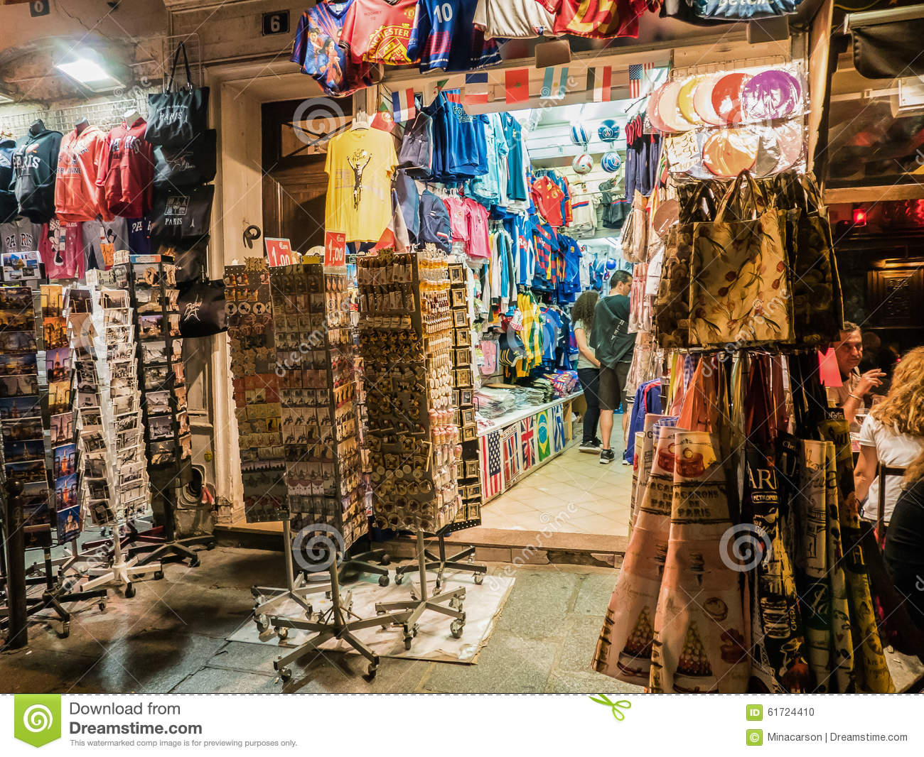 paris tourist shop on a summer evening editorial image image of shirts tourists 61724410. Black Bedroom Furniture Sets. Home Design Ideas