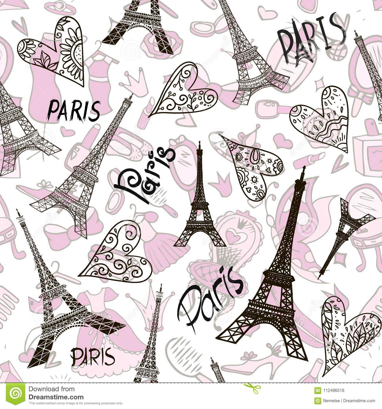 Romantic Seamless Eiffel Tower Paris Background Stock Vector Illustration Of Cute Eifel 112496516