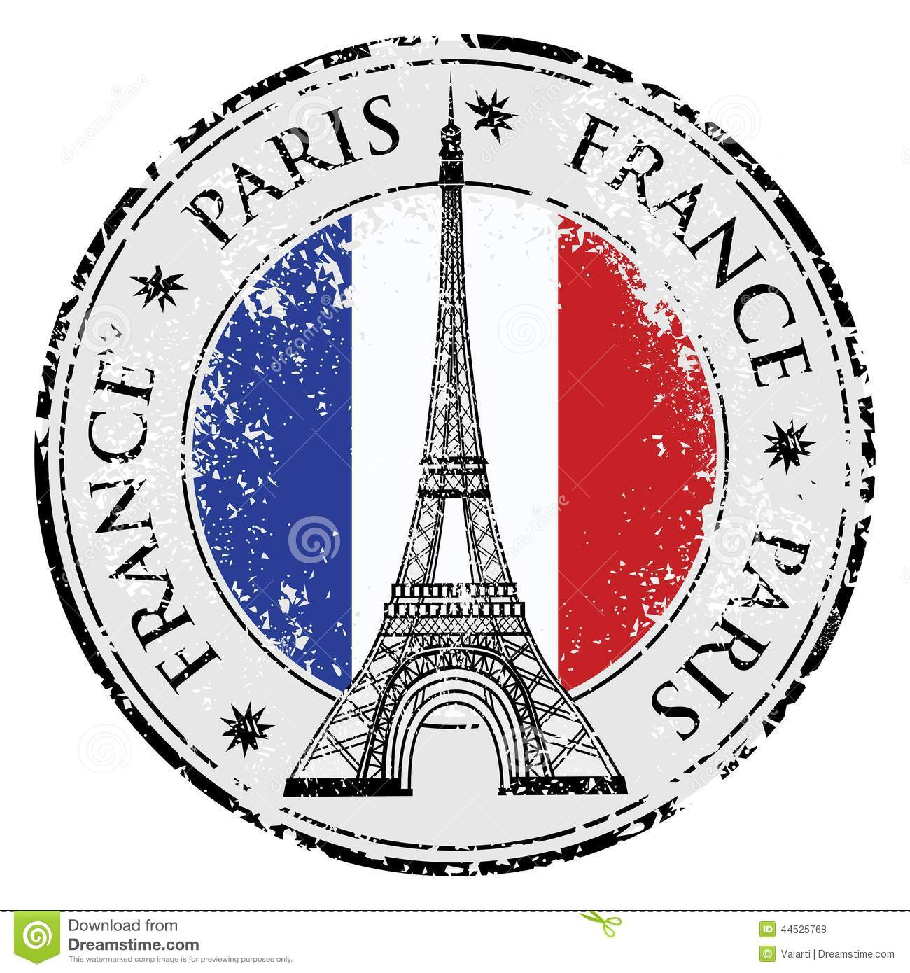 Paris Town In France Grunge Stamp Eiffel Tower Vector Illustration 44525768