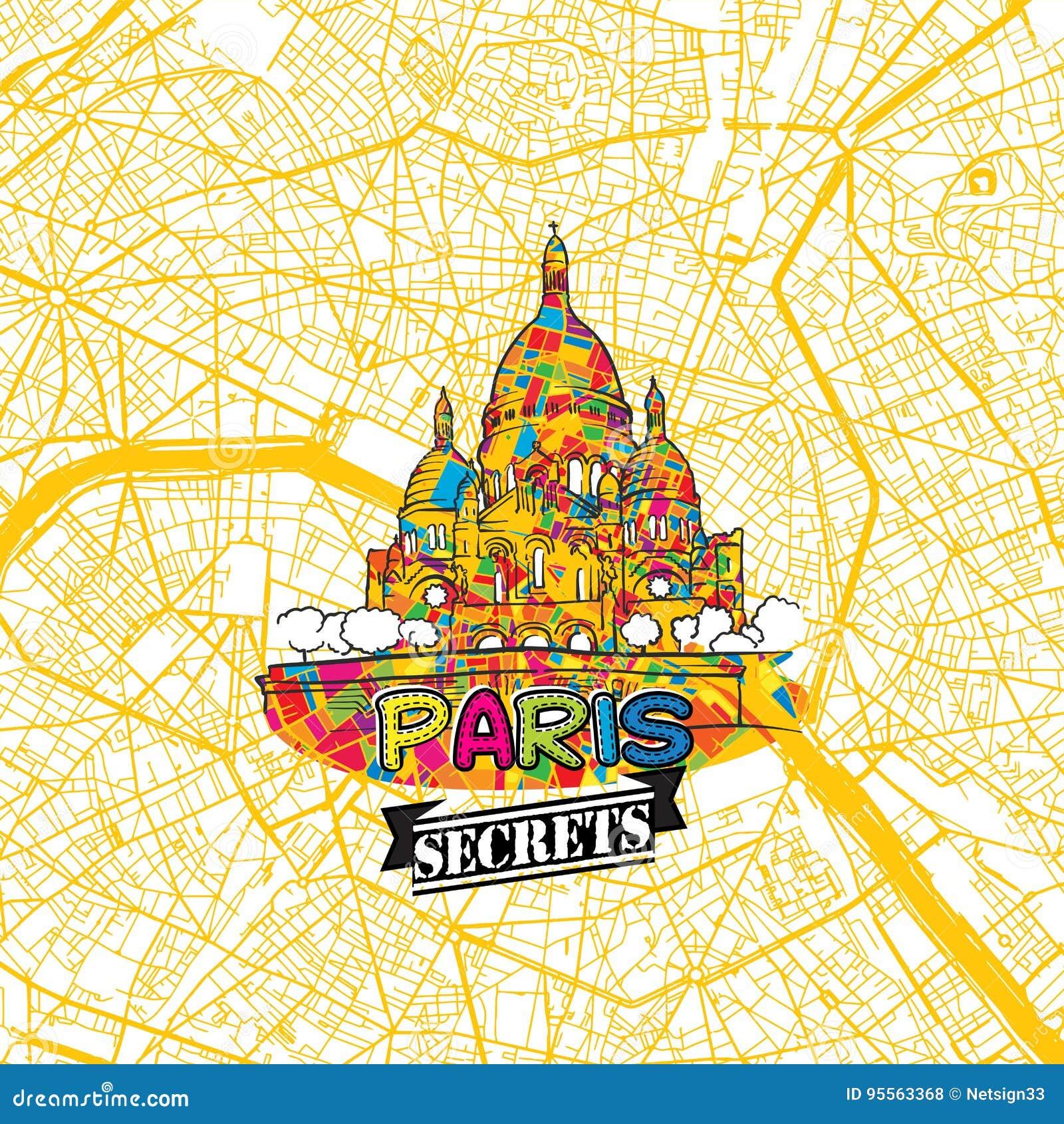 Paris Travel Secrets Art Map Stock Vector Illustration Of Modern - Modern map of paris