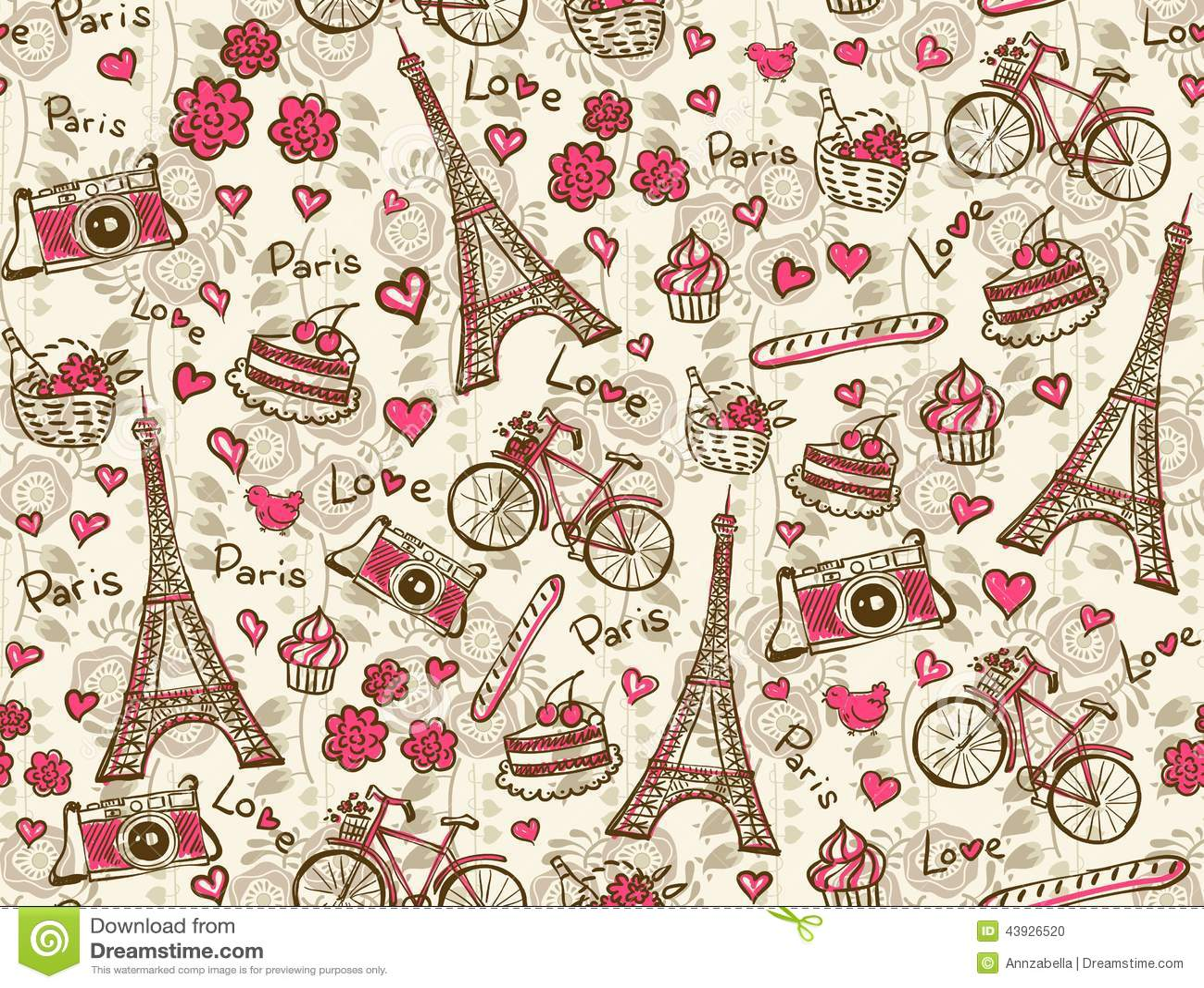 paris vintage background stock vector illustration of pattern 43926520. Black Bedroom Furniture Sets. Home Design Ideas