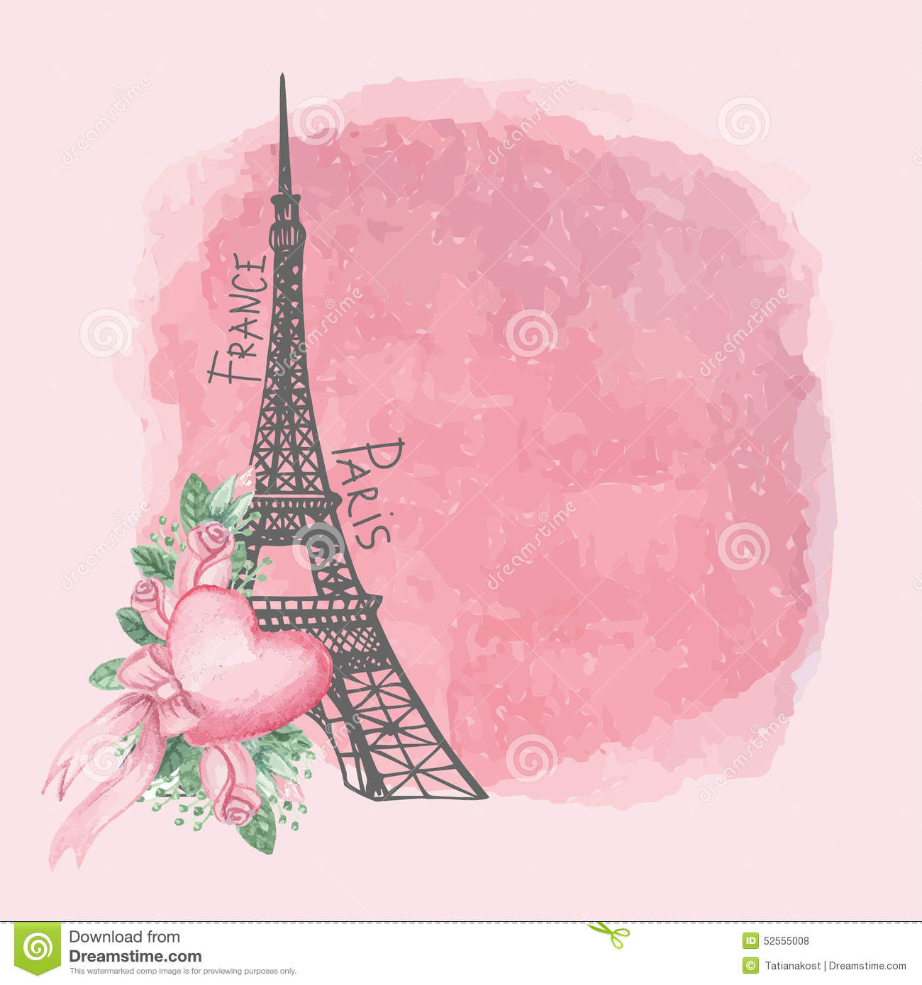 Paris Vintage CardEiffel TowerWatercolor Pink Stock Vector