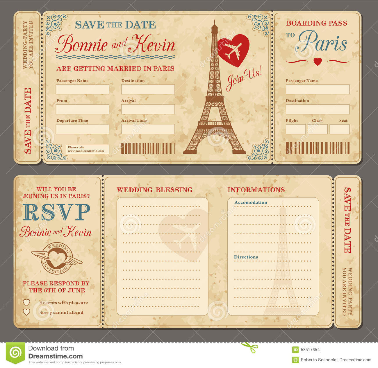 Paris Wedding Invitation Stock Vector Illustration Of Scratched
