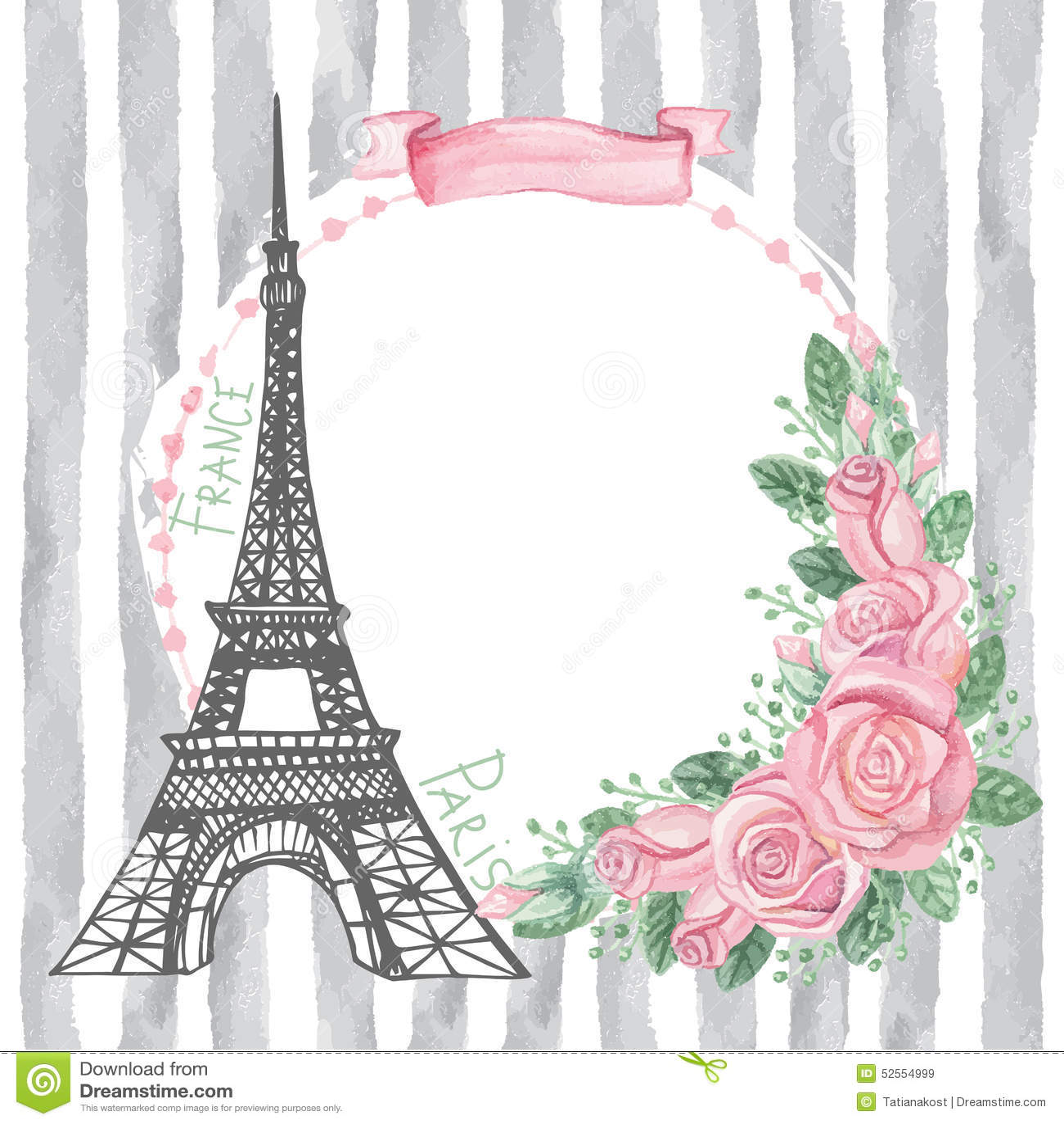 Paris-Weinlesekarte Eiffelturm, Aquarell stieg