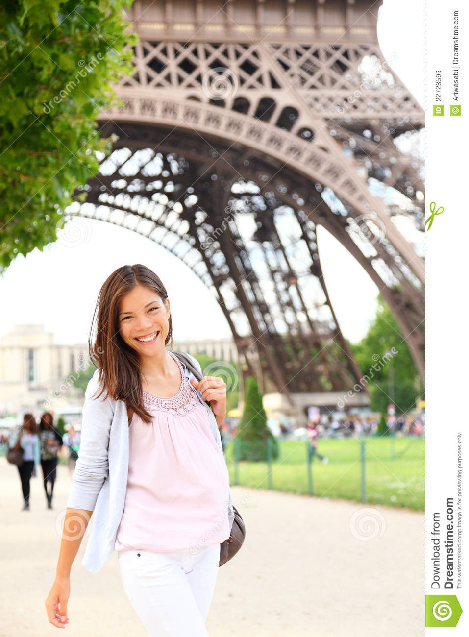 Paris woman by eiffel tower smiling young happy woman walking in