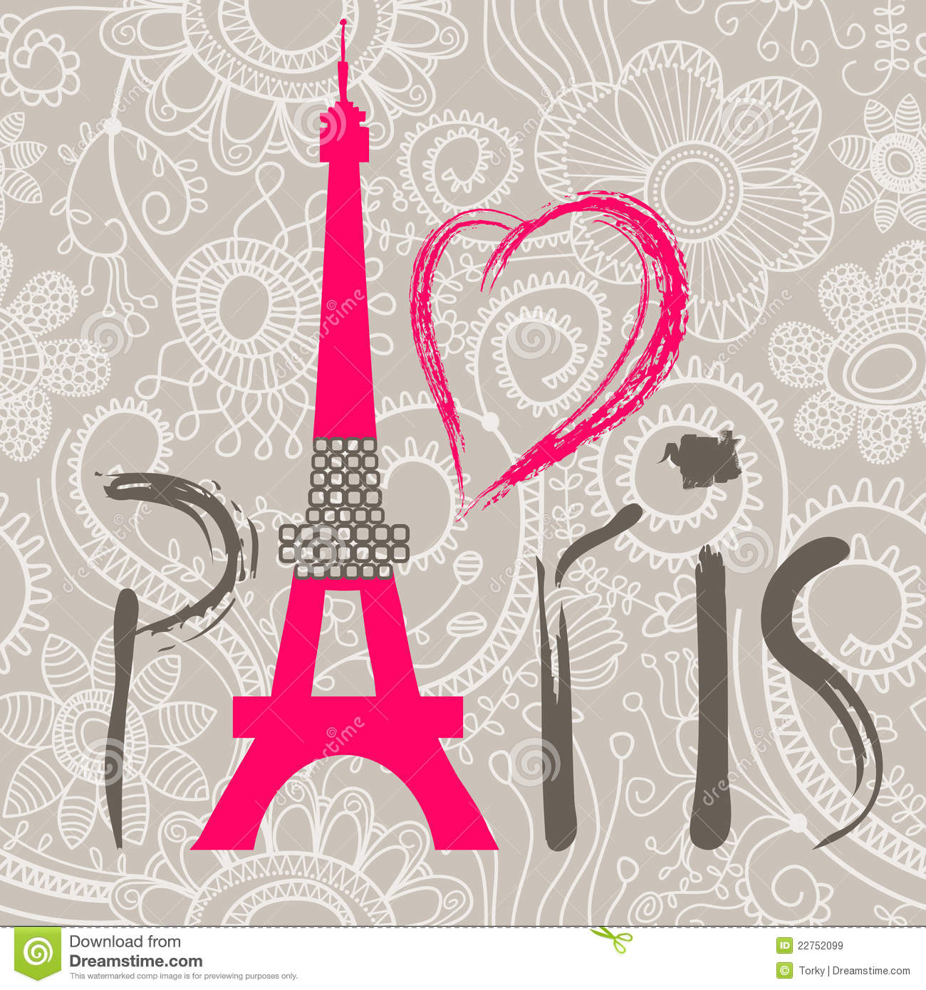 Paris word stock vector image of heart eiffel line for Photo de paris