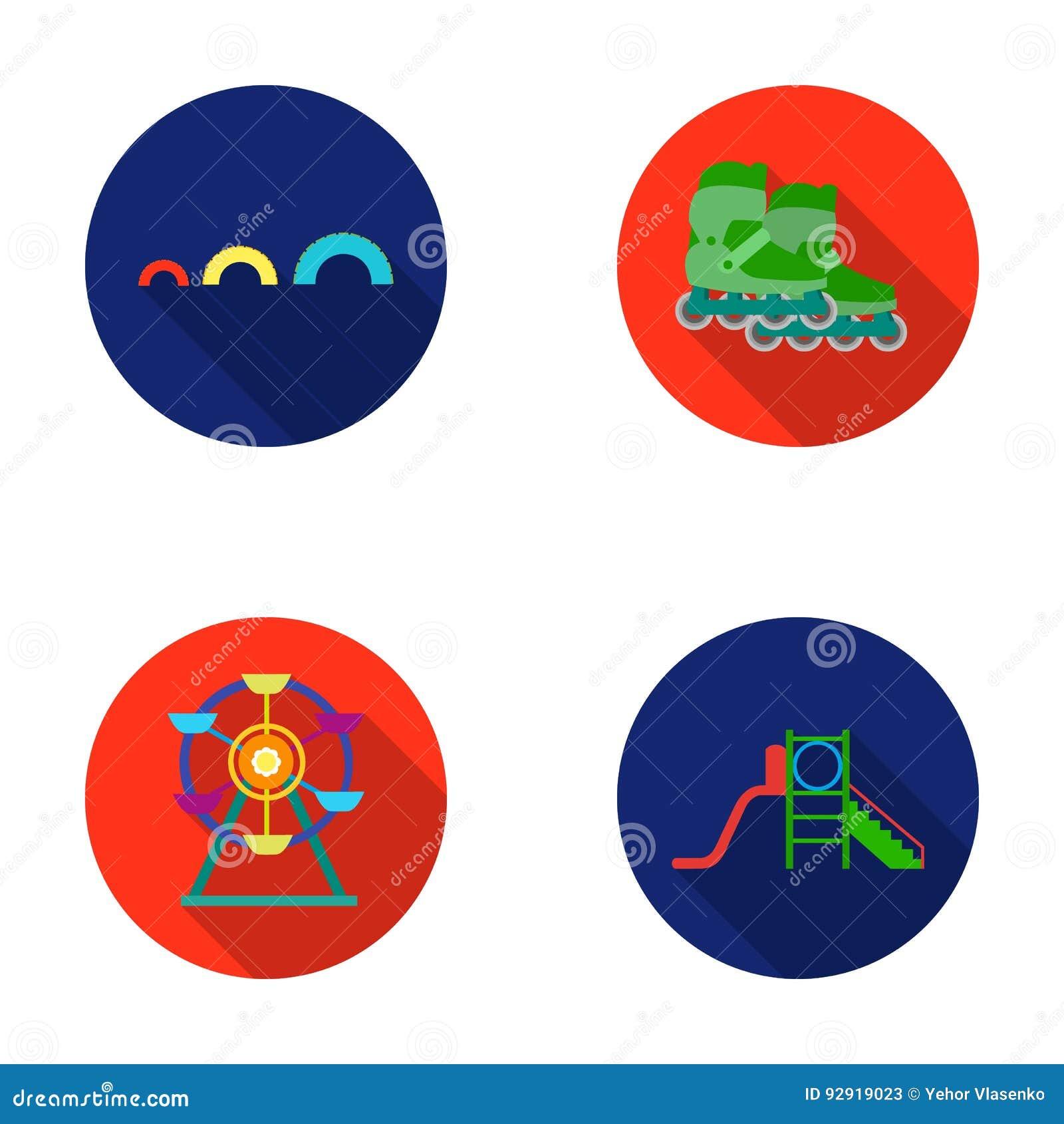 Pariserhjul med stegen, sparkcykel Lagerför fastställda samlingssymboler för lekplats i plant stilvektorsymbol illustrationrengör