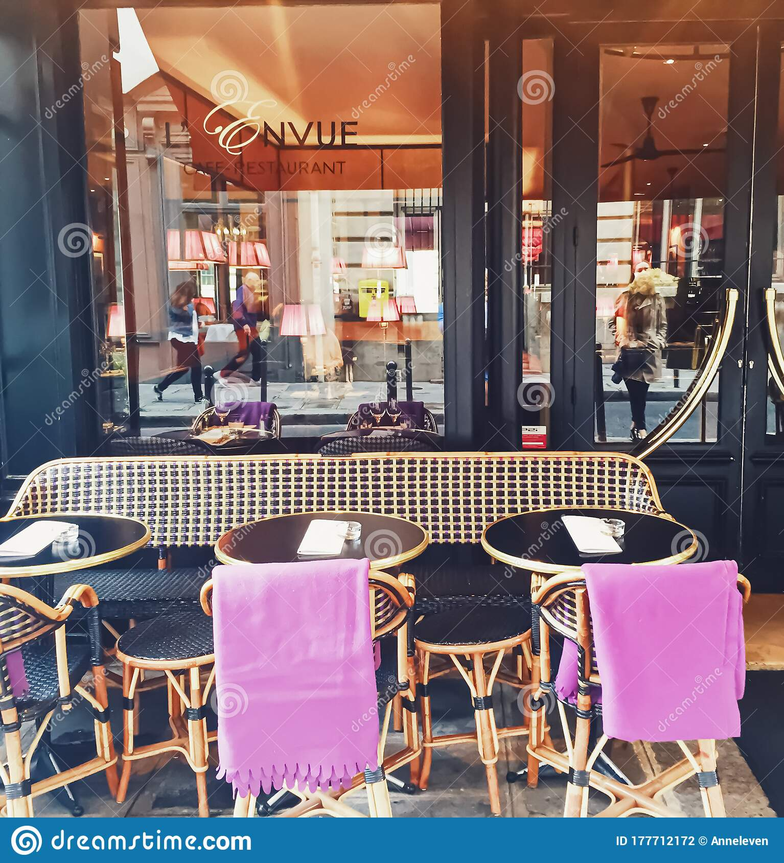 Parisian Cafe And Restaurant On Central Street Of Paris France Editorial Photography Image Of Exterior Architecture 177712172