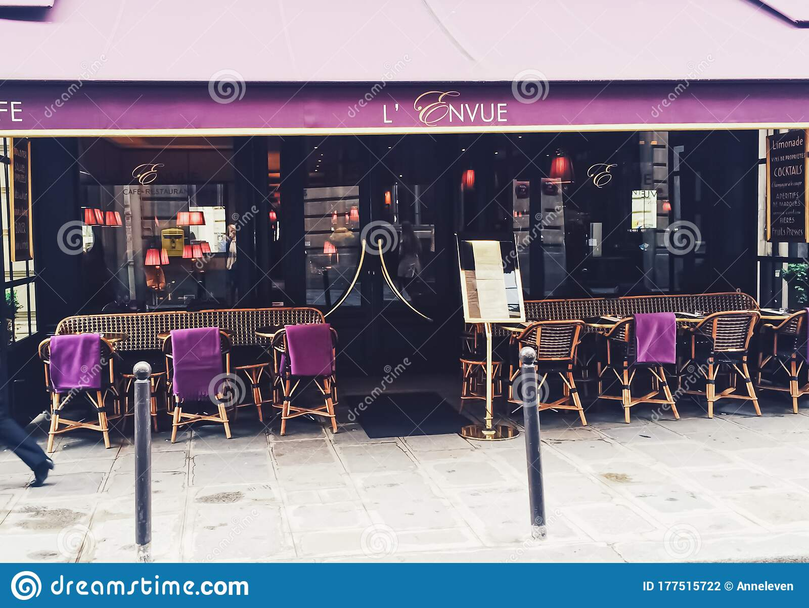 Parisian Cafe And Restaurant On Central Street Of Paris France Editorial Photography Image Of Hotel Address 177515722
