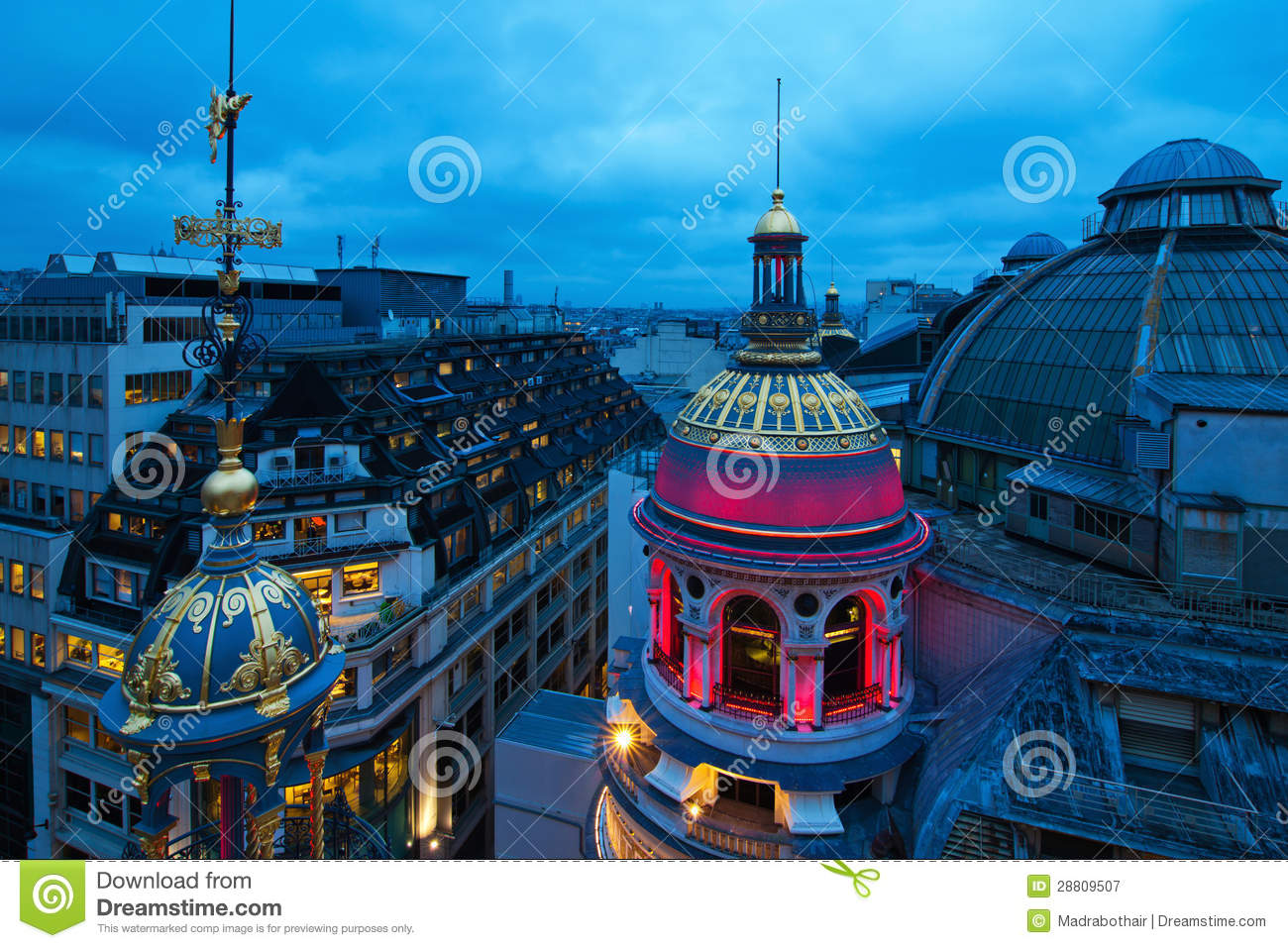 Download Parisian roofs at night stock image. Image of colorful - 28809507